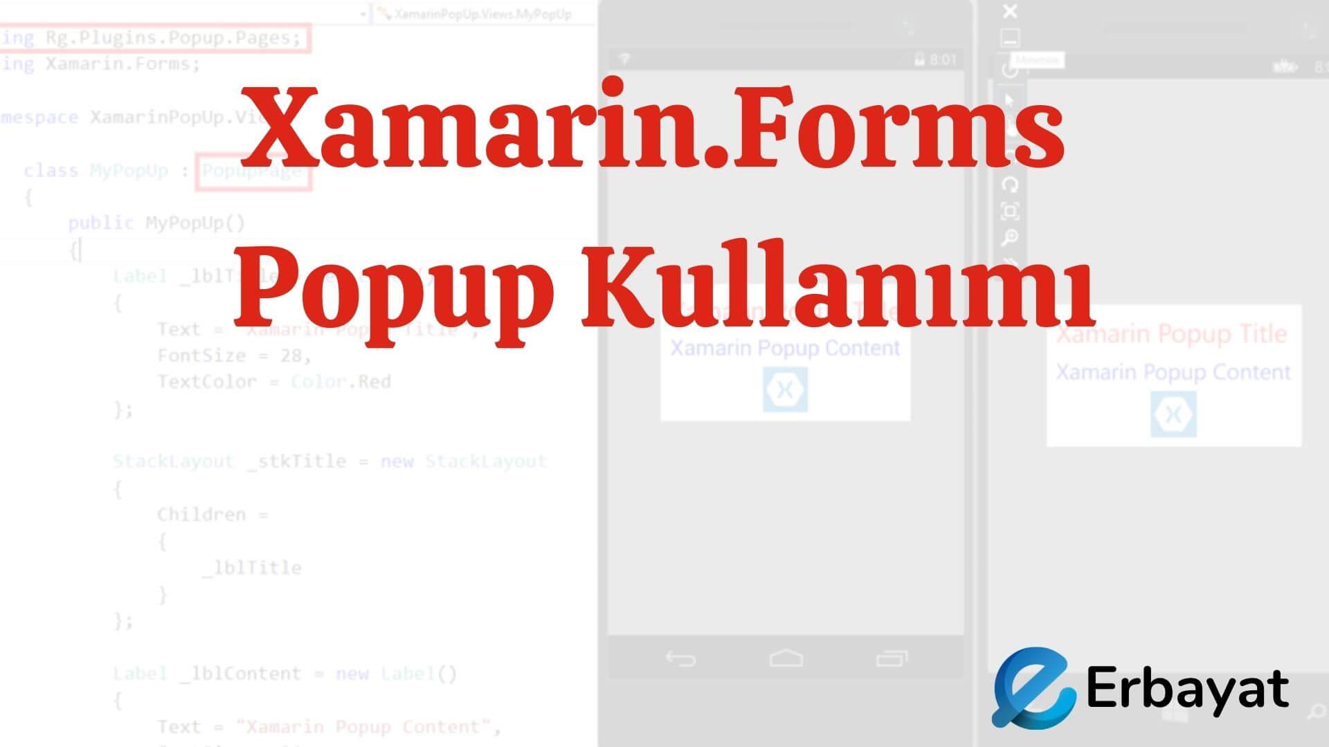Xamarin.Forms Popup Kullanımı